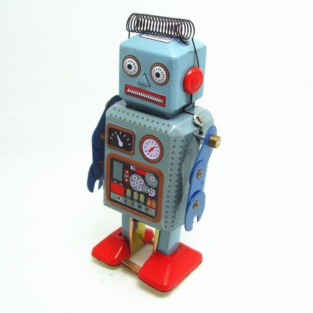 [Funny] Classic collection Retro Clockwork Windup Metal Walking Tin Toy repairman Robot Vintage Mechanical MS249 kids gift