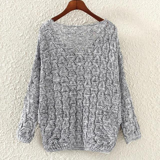 96059fe09e4df WOMAIL Women s Hollow Out Bat Long Sleeve Loose Sweater Long Sleeve Jumpers  Women s Knitted Sweaters O23