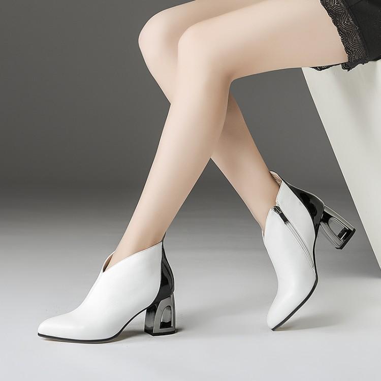 Color Tacón blanco Para Diseñadores Mujeres Mujer Naranja Moda Los Invierno Mezclado Tobillo Plata Calado Pista Zapatos Botas Grueso De z6wdnqUYF