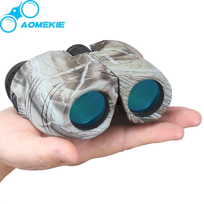 AOMEKIE 12X25 Binoculars High Power Optical Glass Bak4 Prism Multi-coated Lens Hunting Birdwatching Telescope Compact Camo/Black