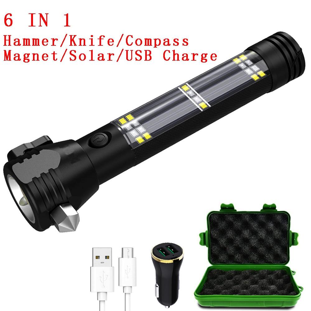 Zk20 dropshipping 5000 lumens lanterna tática solar usb recarregável multi-função da tocha ferramenta de emergência do carro bússola martelo