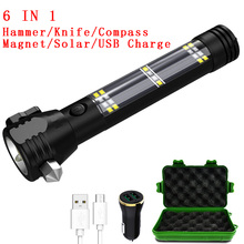 zk20 Dropshipping 5000 Lumens Solar Tactical Flashlight USB Rechargeable Multi-function Torch Car Emergency Tool Compass Hammer