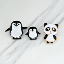 Panda Penguin Brooch Cartoon Penguin Mom and Baby Enamel Pin Backpack Hat Animal Badge Ornament Family Kids and Friends Gifts(China)