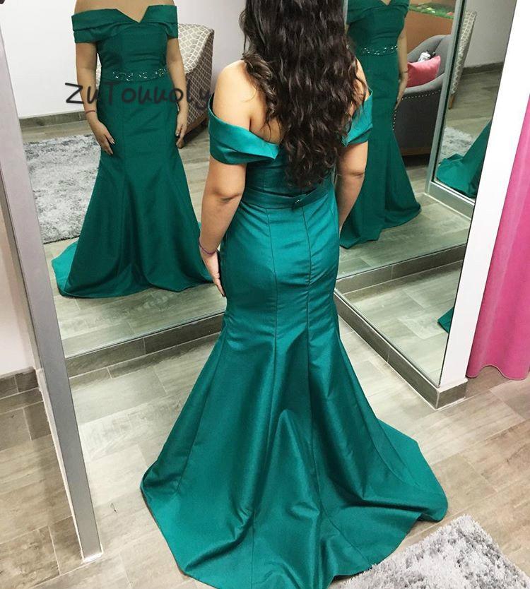 Hunter grande taille sirène robes de soirée hors de l'épaule taffetas robes de bal 2019 avec perlé ajusté soirée robe de soirée