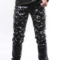 Fashion Male black red rivet tight leather pants low waist plaid male slim skinny pants for singer dancer bar