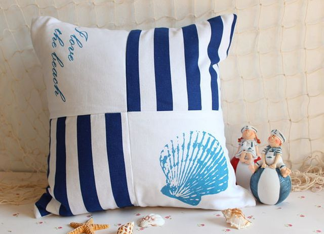 Blue And White Striped Chair Best Pedicure Chairs Reviews Home Decor Ocean Stripes Seat Canvas Printing Pillow Cushions Car Office Bed
