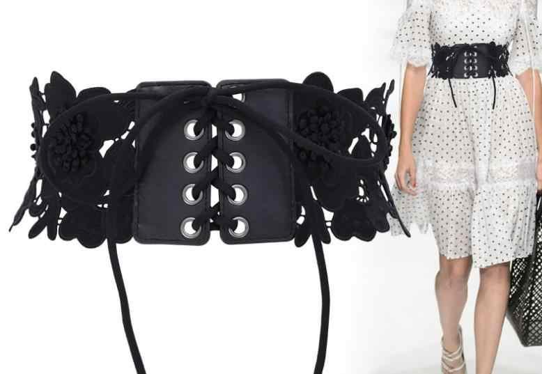Новейший бренд кружева выдалбливают широкий пояс для платья или длинной рубашки Регулируемый кружевной пояс Obi Cinch красивый