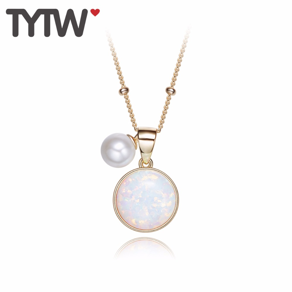 TYTW INS HOT Top Quality S925 Silver Australian Opal Necklace for Women with 18kgold Pendant choker torque woman necklaces