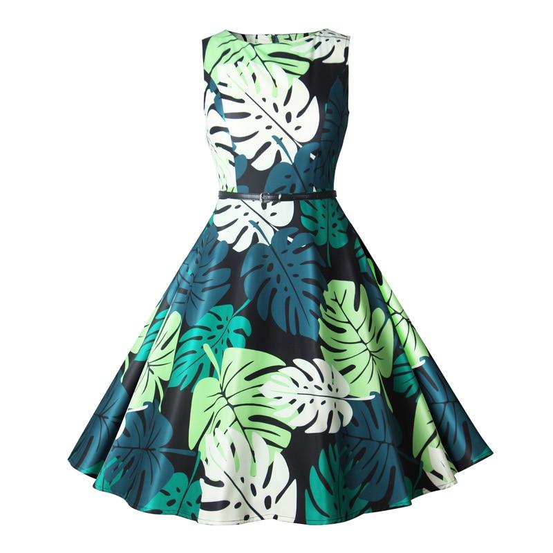 Women Summer Dress Ladies Leaves Print Retro Vintage Dresses 50s 60s Casual Party Robe Rockabilly Dress Plus Size Vestidos Mujer
