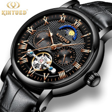 KINYUED Mens Automatic Mechanical Watches Moon Phase Chronograph Waterproof Skeleton Tourbillon Watch Men Sports Reloj Hombre