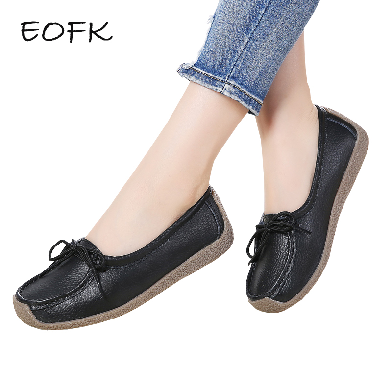 EOFK Women Ballet Flats Shoes Woman Causal Leather Shoes Shallow Soft Comfortable Slip On Women Loafers Flat Shoes For Female muyang women flats 2018 genuine leather ballet flats female casual flat shoes women loafers soft comfortable women shoes