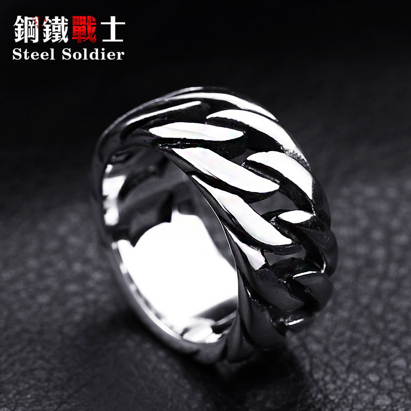 steel soldier titanium steel Gothic chain ring personality retro ring for men stainless steel ring jewelry 3