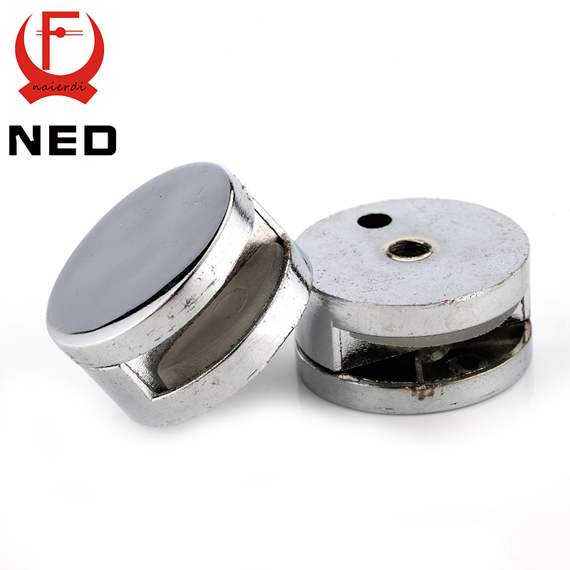 4PCS NED Round Mirror Glass Clamps Zinc Alloy Shelves Support Corner Brackets Clips Nail For 6mm Thick Furniture Hardware