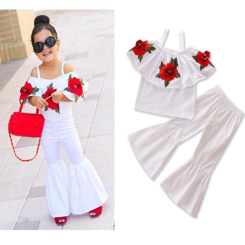 Fashion Girl Summer Clothes Set Baby Girls Off Shoulder 3D Rose Romper Halter Jumpsuit Bell-Bottomed Pants Infant Toddle Kid