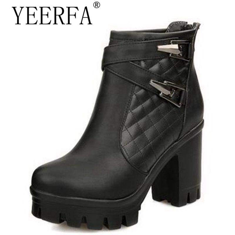 YEERFA Women boots Ankle boots High heels Platform Buckle Plaid Leather shoes Zapatos mujer Fashion Sexy Design for women
