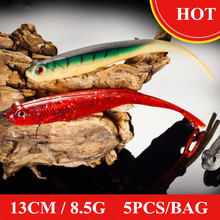 Купить с кэшбэком 2019 New 130mm 8.5g 5PCS/BAG Soft Lures Minnow Smart Lure Jerkbait Wobblers Fresh Saltwater Trout Lure Minnow Fishing Lures