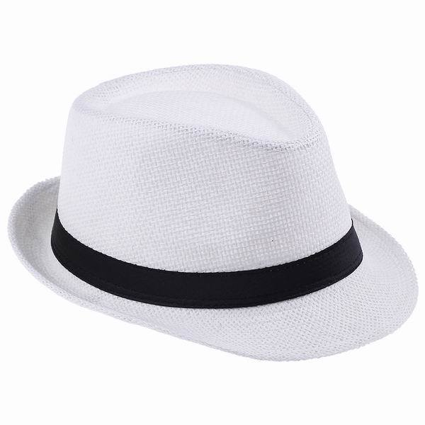 Hot Sale White Women Men Straw Hat Summer Fashion Sun Beach Sunshade Fedora  Panama Hat Cap Cool Hats for Women Men d0363d48c0f