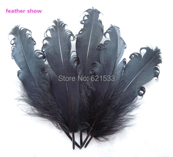 50pcs/lot!15-20cm Curly Black Nagorie Goose feathers for Costume, Party, Decor, Hats, Rave, Theater