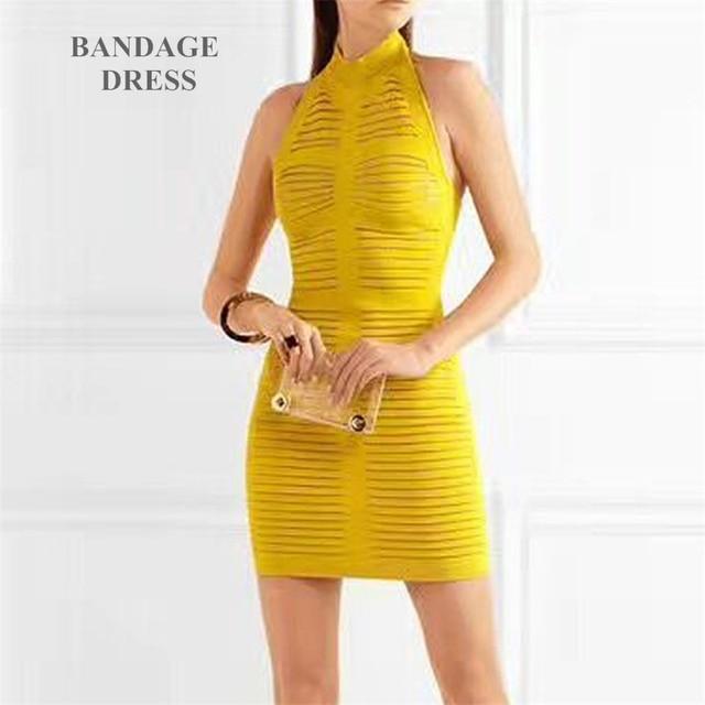 e286afb936da 2017 femmes d été de mode robe jaune sexy dos nu Halter mini robe bandage