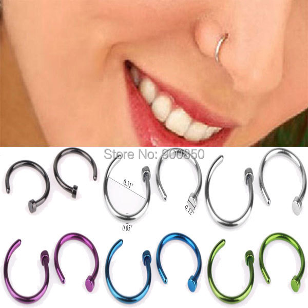 Mix Wholesale 10Pcs/lot 316L Surgical Stainless Steel Nose Rings Piercing Body Jewelry Nose Rings And Studs Ear Tragus Piercing
