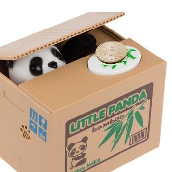 Steal money panda Money bank box hucha panda money box for kids Panda Automatic Stole Coin Piggy Bank Money Saving Box Moneybox little panda bamboo money box