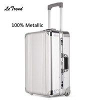 Letrend, новинка 100%, металлический багаж на колёсиках, мужской бизнес документ, сумка на колесиках, 20 дюймов, коробка для посадки, чемоданы путеш