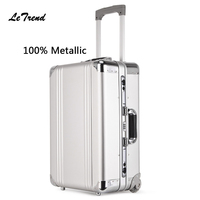 Letrend New 100% Metal Rolling Luggage Men Business Document Bag Trolley 20 inch Boarding Box Suitcases Travel Bag Trunk