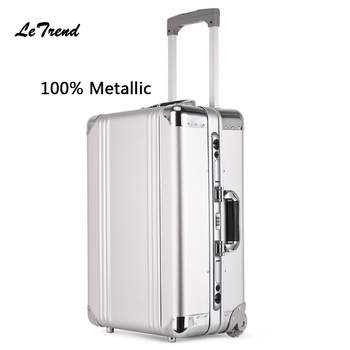 Letrend nuevo 100% Metal equipaje rodante hombres portafolio para documentos de 20 pulgadas de embarque de las maletas de viaje bolsa maletero