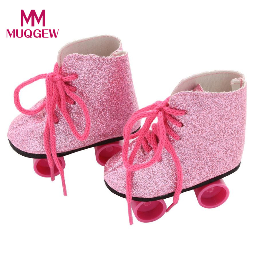 Pink Glitter Doll Roller Skates For 18 Inch Our Generation American Girl Doll baby born doll accessories Drop shipping 2018 glitter doll shoes star dress shoe for 18 inch our generation american girl doll