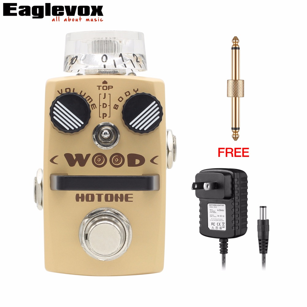 Hotone WOOD Acoustic Guitar Simulator Electric Guitar Effect Pedal with Free Power Adapter and Connector mooer leveline volume pedal electric guitar bass effect pedal wvp1 with free connector and footswitch topper