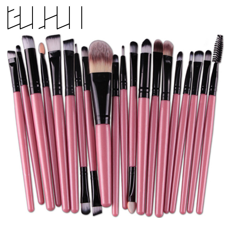 Pro 20Pcs Makeupborstar Set Eye Shadow Foundation Pulver Eyeliner Eyelash Lip Make Up Borste Kosmetisk Skönhetsverktyg Kit Hot