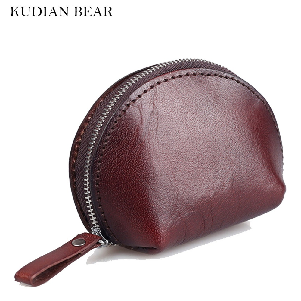 KUDIAN BEAR Genuine Leather Women Coin Purse Oiled Wax Leather Men Wallet High Quality Coin Holder Change Purse--BIK031 PM49 star wars purse high quality leather