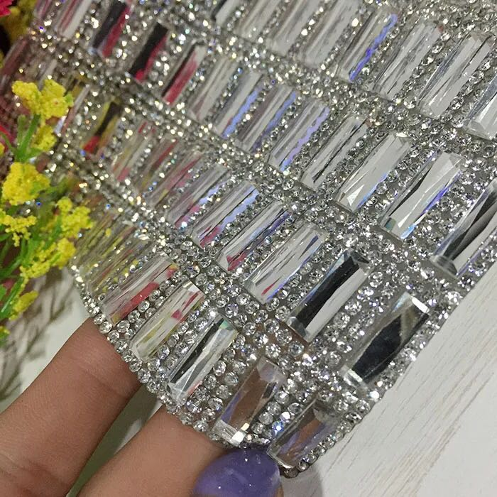crystal 5x15 rhinestone applique trim strass mesh bridal beaded banding  24x40cm roll iron on  518c78408d19