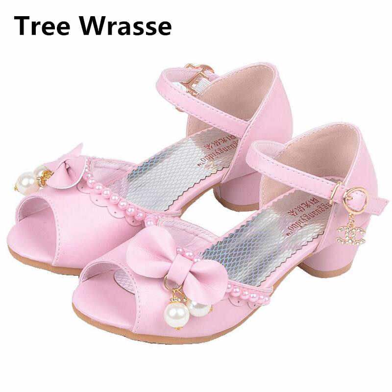 b7434c747e New Children Princess Sandals Kids Girls Wedding Leather Pearl Shoes High  Heels Dress Sandals Party Shoes For Girl Pink white