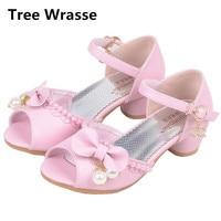 Nouveaux Enfants Princesse Sandales Enfants Filles En Cuir De Mariage Perle Chaussures Talons hauts Robe Sandales Parti Chaussures Pour Fille Rose blanc