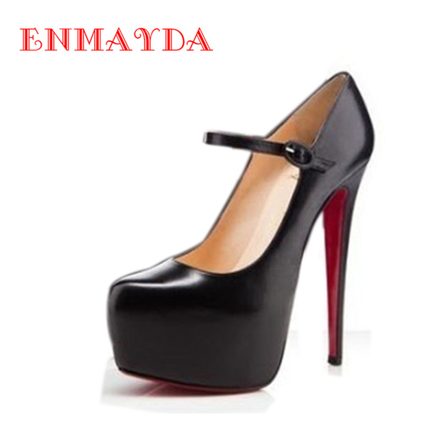 ENMAYDA Ankle Strap Shoes Woman Sexy Super High Heels Round Toe Platform Shoes Party in Women's Shoes Zapatos Mujer Black Pumps