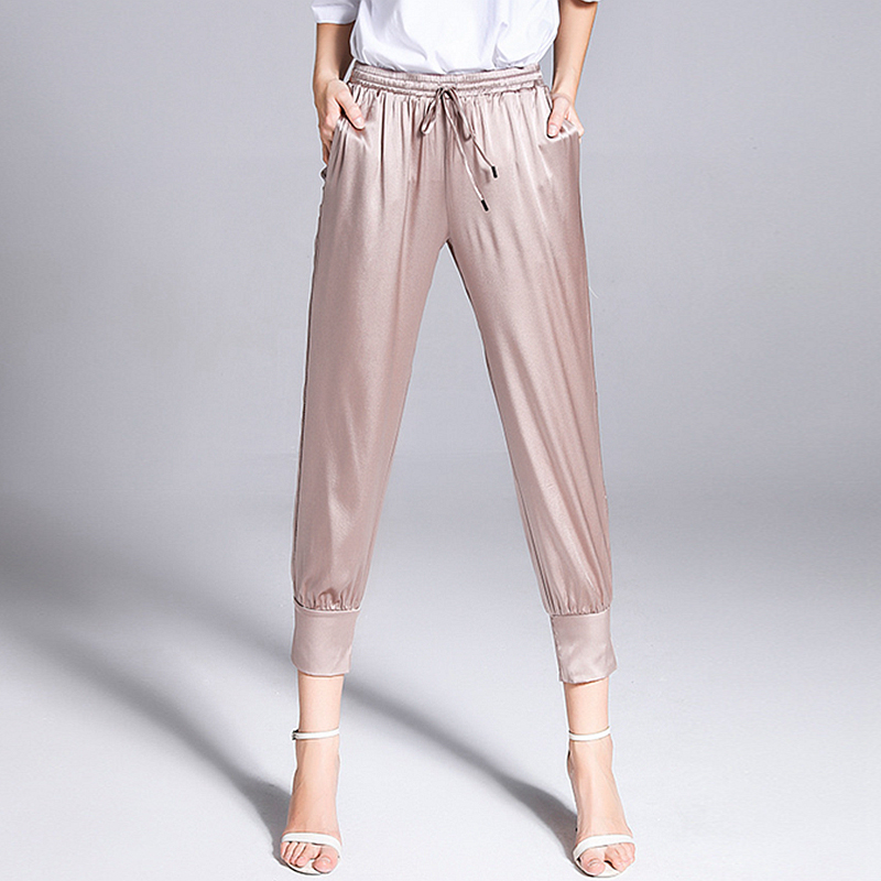 Kadın Giyim'ten Pantalonlar ve Kapriler'de 100% Ipek Pantolon Kadınlar Hollow Out Tasarım Katı Elastik Bel Cepler Kalem Pantolon Yeni Moda Avrupa ve Amerikan Tarzı 2018'da  Grup 1