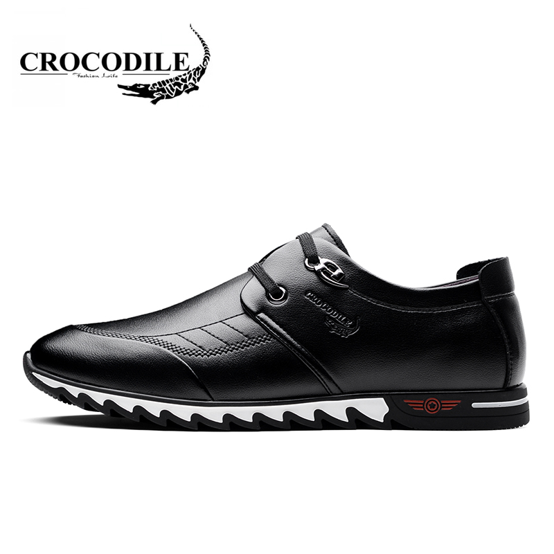 Crocodile 2018 New Men's Leather Shoes Youth Breathable Men Running Shoes Male Light Weight Height Increasing Sport Sneakers kelme 2016 new children sport running shoes football boots synthetic leather broken nail kids skid wearable shoes breathable 49