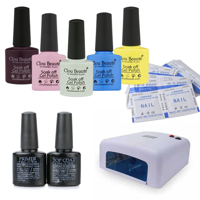 Newest Clou Beaute Nail Lamp Set (Any 5 Colors + Base Top Coat+50Pcs Remover Wraps+36W Lamp) Nail Polish UV Gel Set