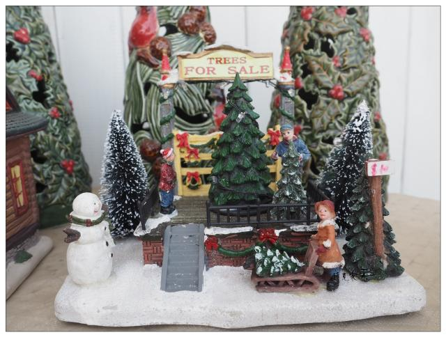 american christmas scene light christmas tree european town sand table resin accessories in statues sculptures from home garden on aliexpresscom - American Sales Christmas Trees