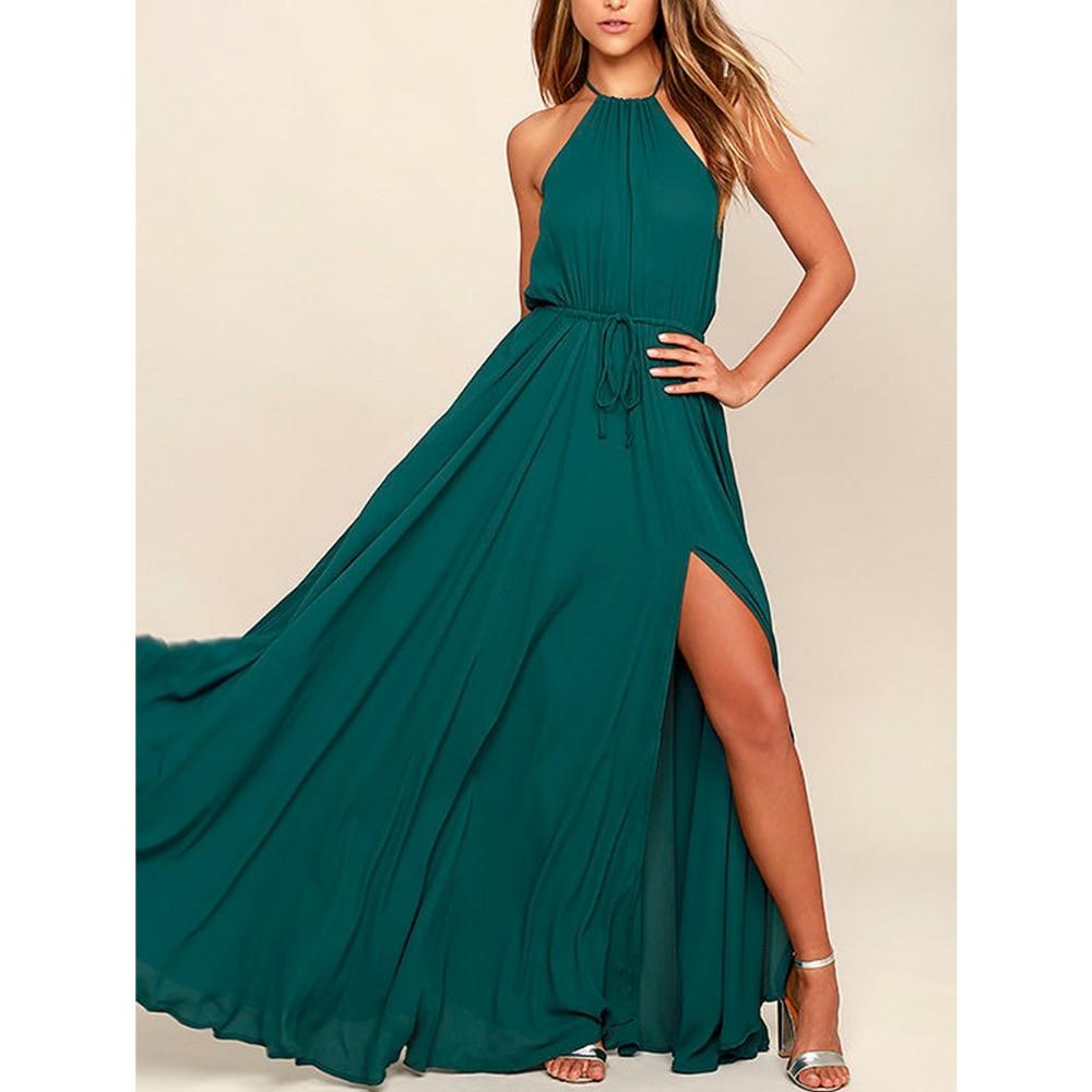 2018 Summer Maxi Long Party Dress Women Halter Neck Vintage Sleeveless High Split Boho Dress Plus Size Sexy Beach Dress Vestido