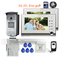 "FREE SHIPPING New 7"" TFT Color Video Door phone Intercom Recording System 2 Screens Outdoor RFID Door Camera + Remote + 8G SD"