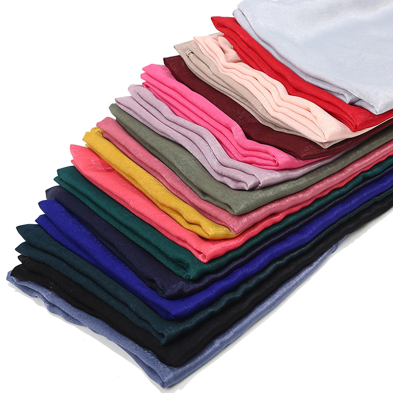 1 Pc New Smooth Shiny Bubble Satin Scarf Shawls Plain Solider Colors Thicken Hijab Muslim scarves/scarf 19 Colors For Choose