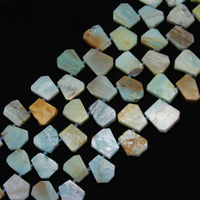 Full 1 strand Polished Slab Natural Amazonite Loose Beads Top Drilled Slice Spacer Beads Charms Necklace Jewelry Wholesale