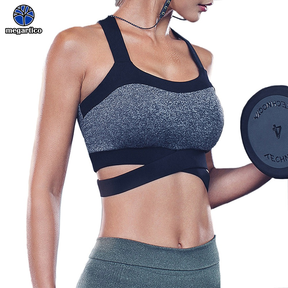 genuine shoes super popular hot products haut de sport femme racerback sports bra Criss Cross High Impact Support  Wirefree Fitness sport bra Yoga Running Gym Workout