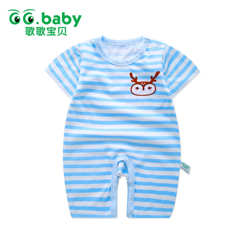 2017 Summer Infant Baby Jumpsuit Newborn O-Neck Cotton Rompers Baby Girl Striped Romper Short Sleeve Baby Boy Summer Rompers baby rompers o neck 100