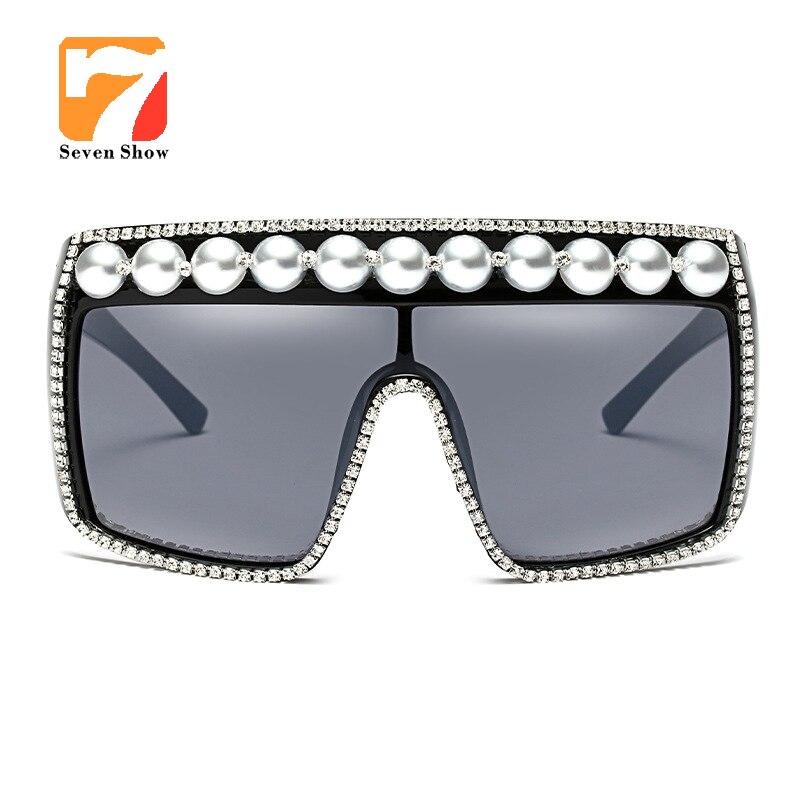 Fashion oversized pearl sunglasses women luxury windproof one piece lens rhinestone sun glasses for women black uv400