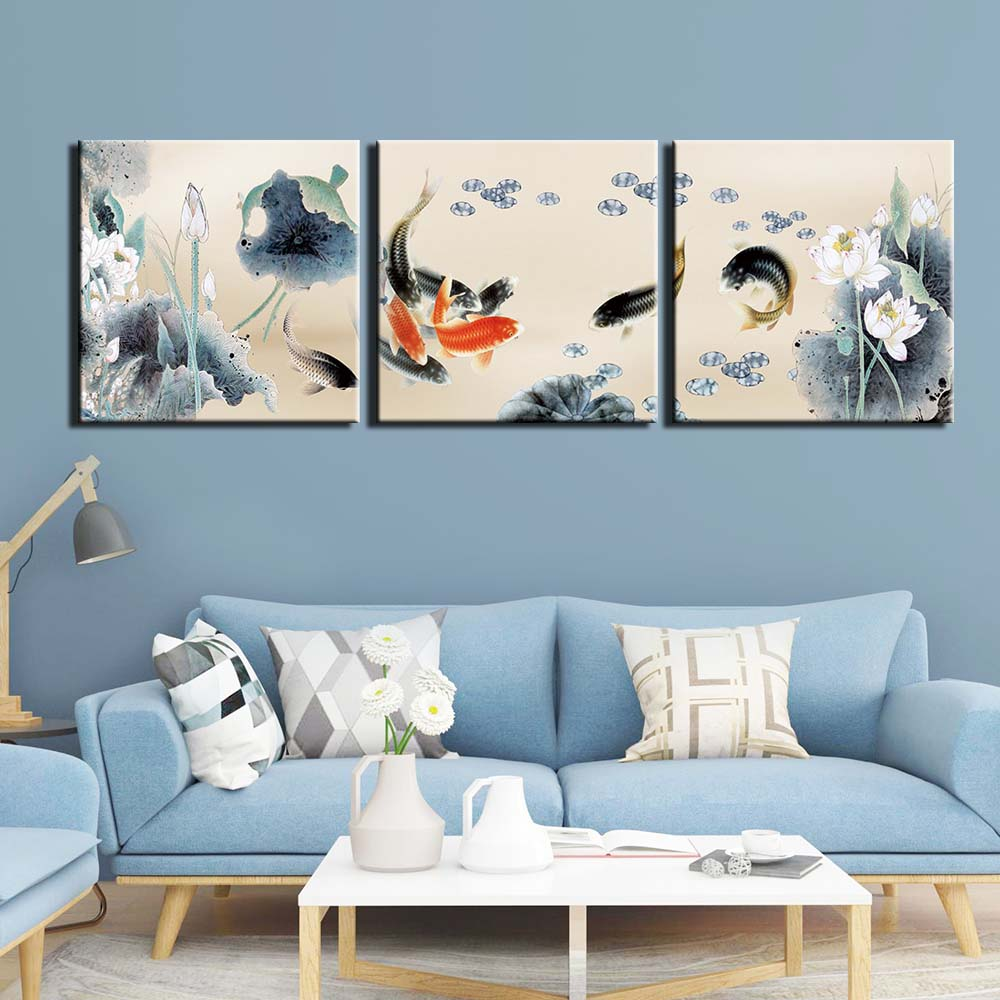3 Pieces Fish Koi Carp Chinese Style Painting On Canvas Feng Shui