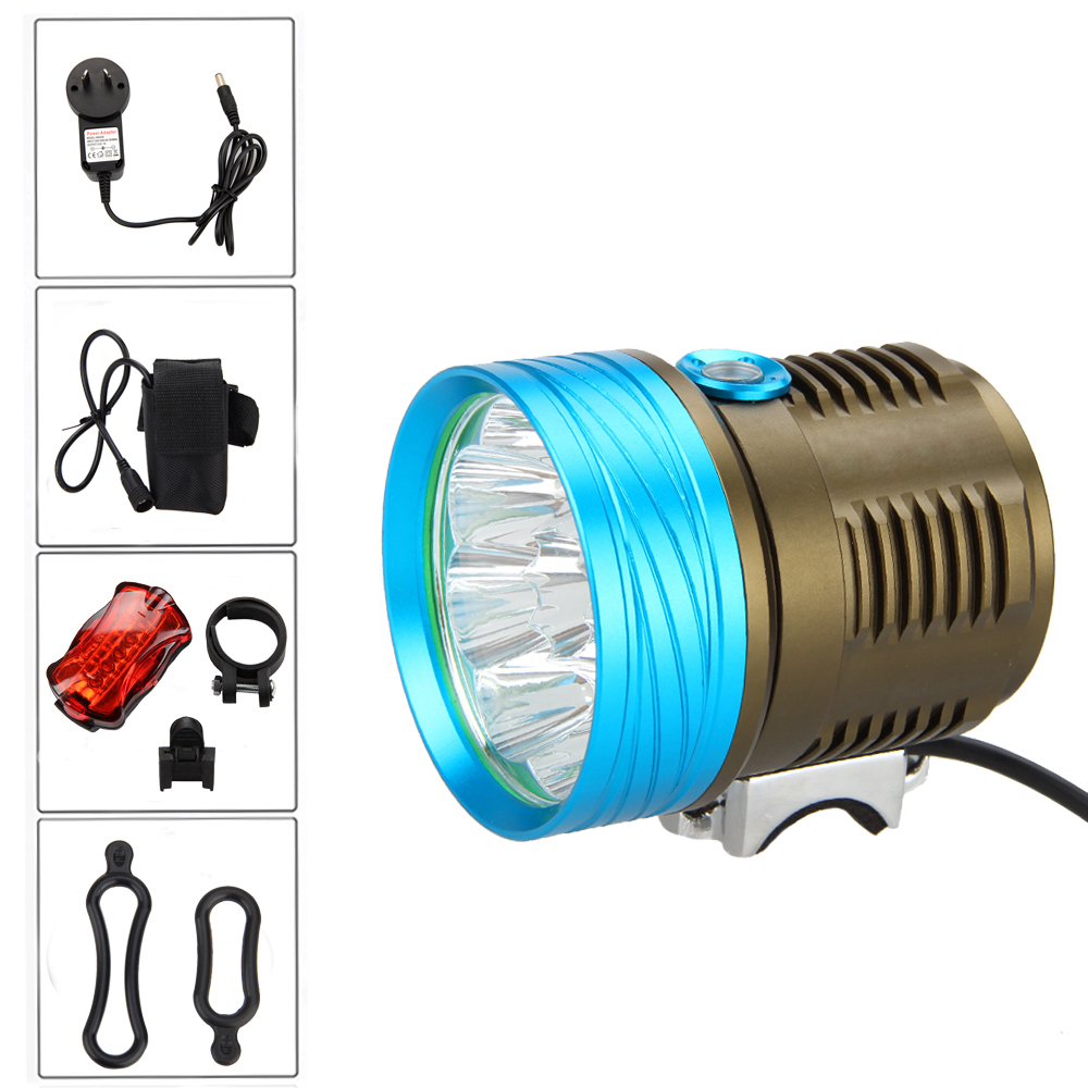Hot 18000lm XML T6 LED Bycicle Front Head Light Bike Lamp Torch +Battery Pack+Taillight hot sale 3x cree xml t6 led headlamp bike light 5000 lumen 18650 led head light 4x18650 battery pack charger bike rear light