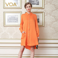 VOA Europe Streetwear Long Sleeved Mulberry Silk Shirts Female Orange Color Long Stand Collar Pocket Blouse